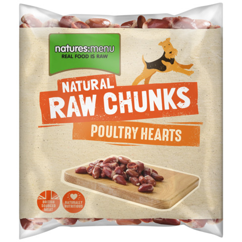Natures Menu Frozen Raw Poultry Hearts For Dogs 1kg