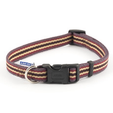 Ancol Cotton Stripe Damson Adjustable Dog Collar Large
