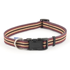 Ancol Cotton Stripe Damson Adjustable Dog Collar Medium