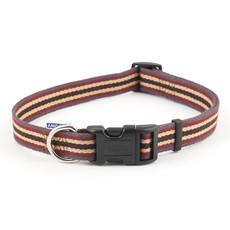 Ancol Cotton Stripe Damson Adjustable Dog Collar Medium