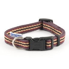 Ancol Cotton Stripe Damson Adjustable Dog Collar Small
