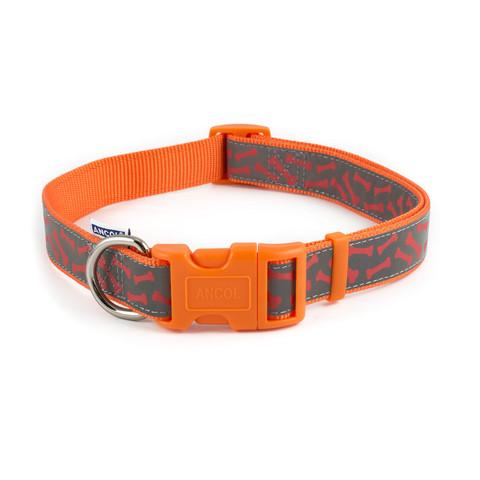 Ancol Indulgence Fashion Orange Bone Adjustable Dog Collar Large