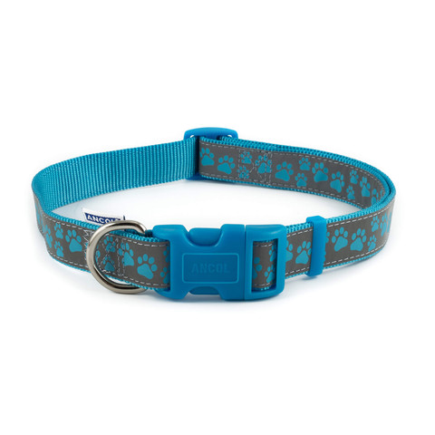 Ancol Indulgence Fashion Blue Paw Adjustable Dog Collar Large
