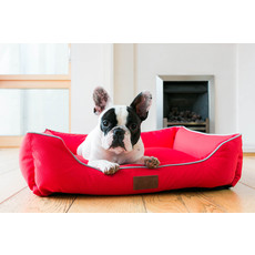 Beddies Waterproof Lounger Dog Bed In Red And Grey Medium
