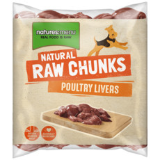 Natures Menu Frozen Raw Poultry Liver Chunks For Dogs 1kg