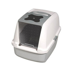 Catit Hooded Grey & White Cat Litter Tray