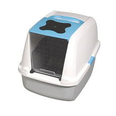 Catit Hooded Blue, Grey & White Cat Litter Tray