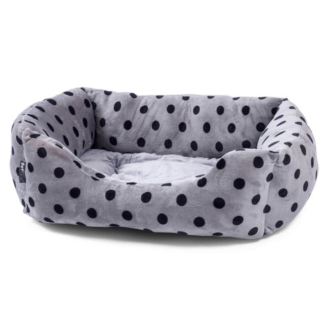 Petface Grey & Black Plush Square Bed Large