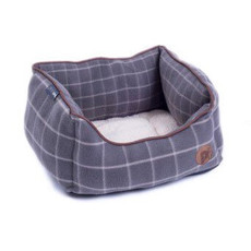 Petface Grey Window Pane Check Square Bed Small