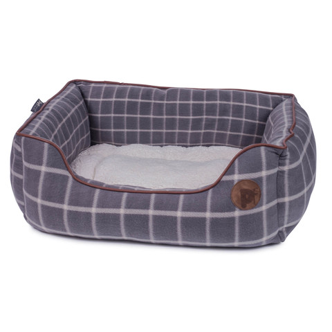 Petface Grey Window Pane Check Square Bed Medium
