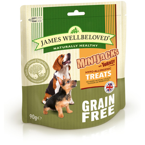 James Wellbeloved Minijacks Grain Free Turkey Dog Treats 10 X 90g
