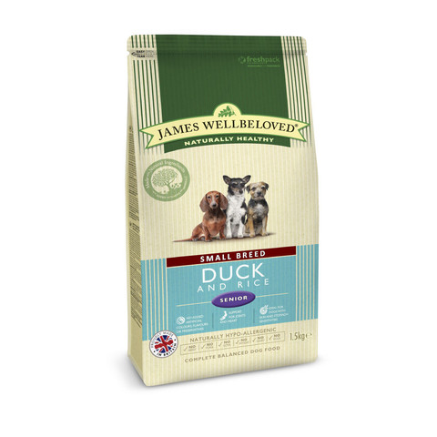James Wellbeloved Senior Small Breed Duck & Rice Dry Dog Food 1.5kg