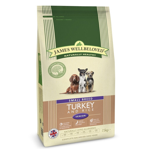 James Wellbeloved Senior Small Breed Turkey & Rice Dry Dog Food 7.5kg