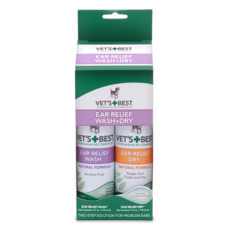 Vets Best Ear Relief Wash & Dry Kit For Dogs 2 X 118ml