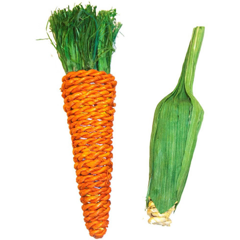 Happy Pet Carrot & Corn Small Animal Chew Toy