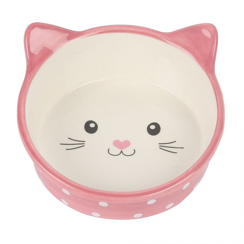 Happy Pet Polka Cat Bowl Pink