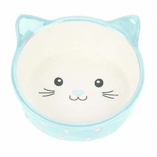 Happy Pet Polka Cat Bowl Blue One Size