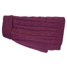 Happy Pet Charlton Cable Knit Dog Coat Deep Berry Medium