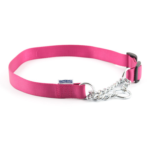 Ancol Heritage Nylon And Chain Check Raspberry Dog Collar