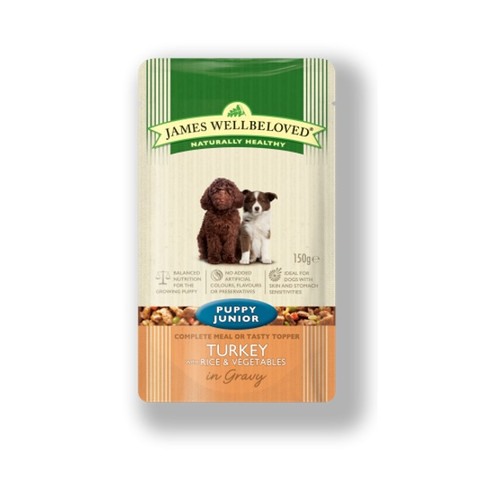 James Wellbeloved Puppy Pouch With Turkey And Rice 10 X 150g