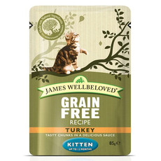 James Wellbeloved Grain Free Kitten Pouches With Turkey 12 X 85g