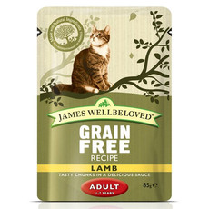James Wellbeloved Grain Free Adult Cat Pouches With Lamb 12 X 85g
