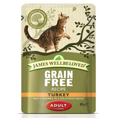 James Wellbeloved Grain Free Adult Cat Pouches With Turkey 12 X 85g