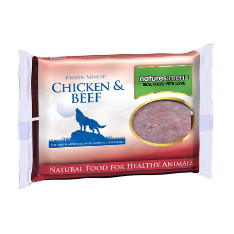 Natures Menu Minced Frozen Dog Food With Chicken & Beef 12 X 400g