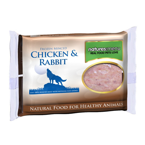 Natures Menu Minced Frozen Dog Food With Rabbit And Chicken 12 X 400g