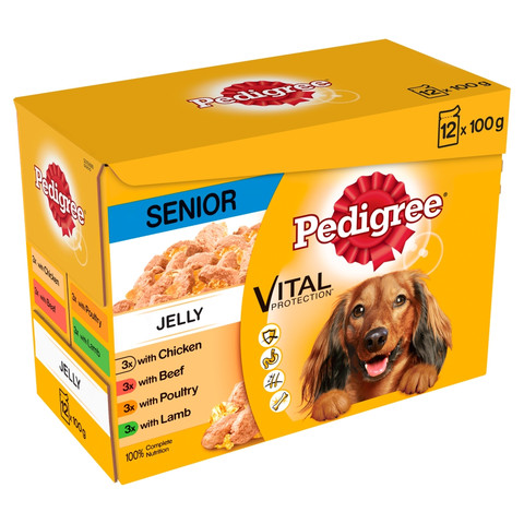 Pedigree Senior Dog Pouches Mixed Varieties In Jelly 4 X 12 X 100g
