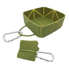 (d) Ikaboodle Foldabowl Dog Travel Bowl Olive