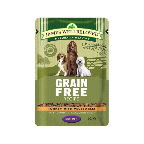 James Wellbeloved Grain Free Senior Dog Pouch With Turkey 12 X 100g