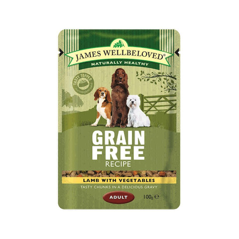 James Wellbeloved Grain Free Adult Dog Pouch With Lamb 12 X 100g