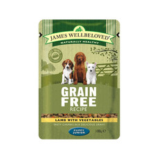 James Wellbeloved Grain Free Puppy Pouch With Lamb 12 X 100g