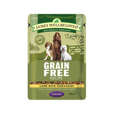 James Wellbeloved Grain Free Senior Dog Pouch With Lamb 12 X 100g