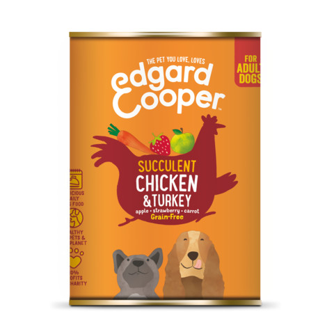 Edgard & Cooper Adult Grain Free Wet Dog Food With Chicken & Turkey 6 X 400g