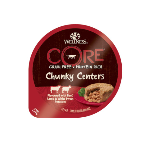 (d) Wellness Core Chunky Centers Flavoured With Beef, Lamb & White Sweet Potato Wet Adult Grain Free Dog Food 6 X 170g
