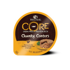 Wellness Core Chunky Centers Flavoured With Chicken, Chicken Liver & Spinach Wet Adult Grain Free Dog Food 6 X 170g