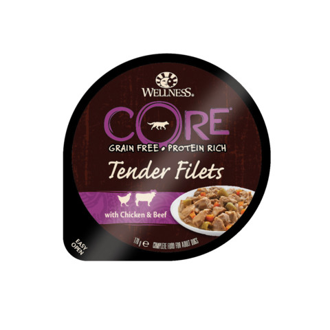 Wellness Core Tender Fillets With Chicken & Beef Wet Adult Grain Free Dog Food 6 X 170g