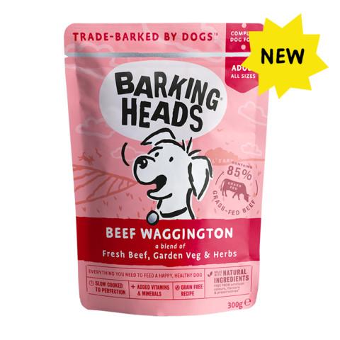 Barking Heads Beef Waggington Pouch Grain Free Wet Dog Food 10 X 300g