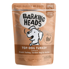 Barking Heads Top Dog Turkey Pouch Grain Free Wet Dog Food 10 X 300g