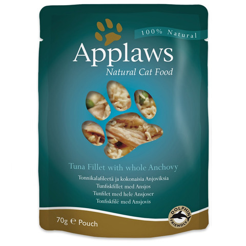 Applaws Natural Cat Pouches With Tuna And Anchovy In Broth 12 X 70g