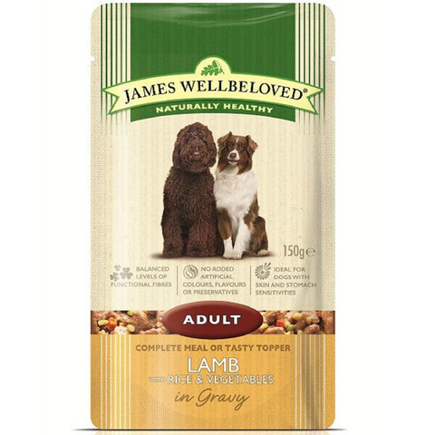 James Wellbeloved Adult Dog Pouch With Lamb, Rice And Vegetables In Gravy 10 X 150g