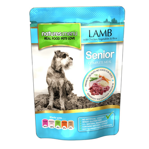 Natures Menu Dog Senior Pouch With Lamb Vegetables And Rice 8 X 300g
