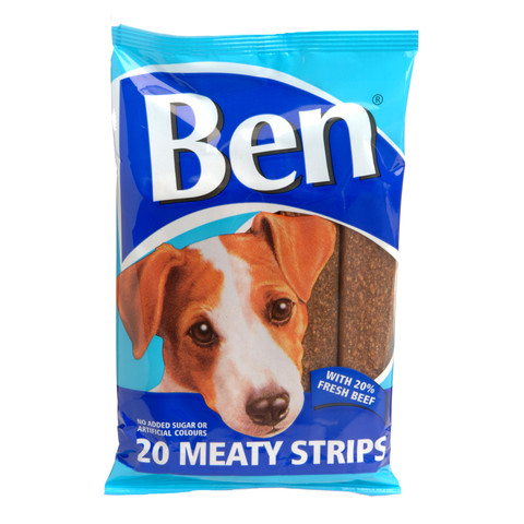 Ben Meaty Strips Dog Treats With Beef 200g
