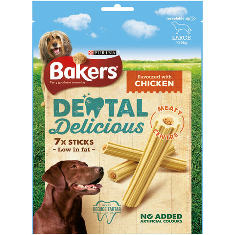 Bakers Dental Delicious Dog Treats With Chicken 6 X Medium