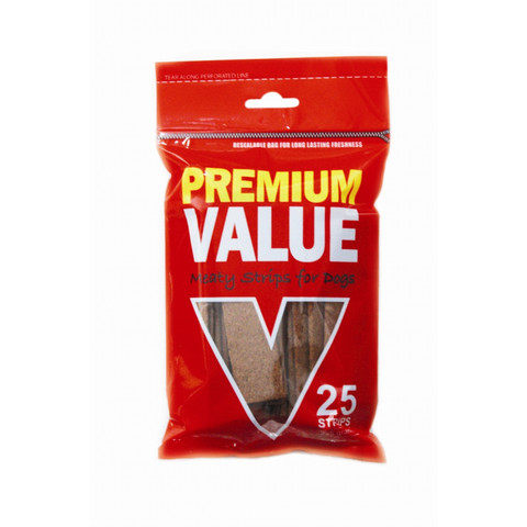 Premium Value Meaty Strips Dog Treats 25 Pack