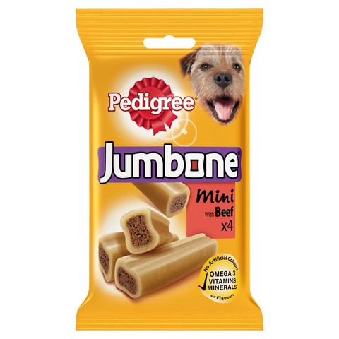 Pedigree Jumbone Small Dog Treats With Beef 4 Pack