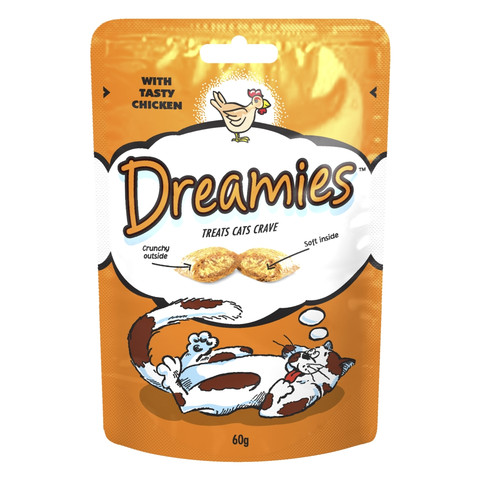 Dreamies Pouch Cat Treat With Tasty Chicken 8 X 60g