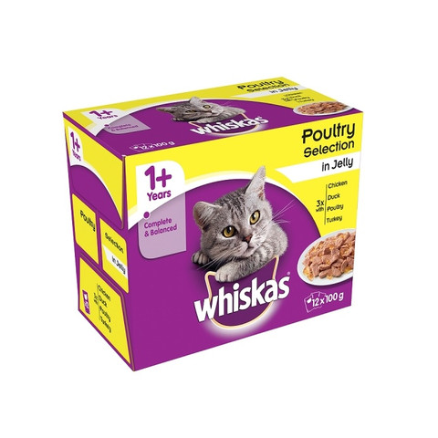 Whiskas Adult 1+ Cat Pouches Poultry Selection In Jelly 12 X 100g